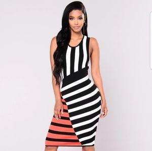 NWT Fashion Nova Cruella Striped Tank Dress